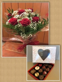 6 Red Roses in a vase with box of 12 assorted chocolates