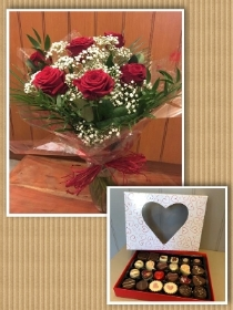 6 Red Roses in a vase with box of 24 assorted chocolates
