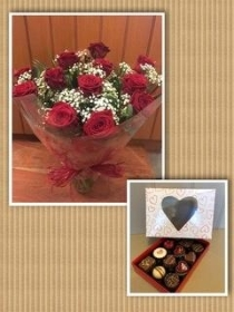 12 Red Roses in a vase with box of 12 assorted chocolates