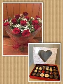 12 Red Roses in a vase with box of 24 assorted chocolates