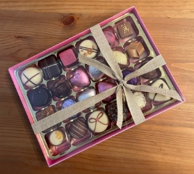 Mothers day box of 24 assorted Belgian chocolates.
